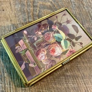 Vintage Rose Flower Glass Jewelry Box